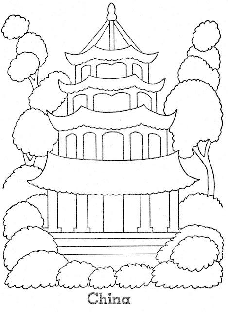 Paises asiaticos monumento y ni o con traje tipico para pintar for Menu cinese tipico
