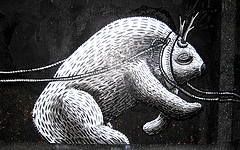 Photograph of a mythical creature in Phlegm's piece.