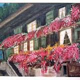 huis met geraniums, Zwitserland