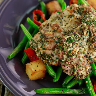 Za'atar Chicken with Garlicky Pan-Roasted Potatoes and Green Beans.