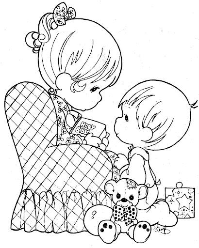 Pinto dibujos dibujos de los precious moments para el d a for Mother s day spanish coloring pages