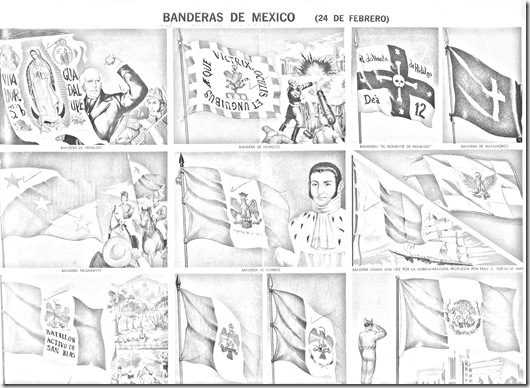 bandera de mexico para colorear para niños