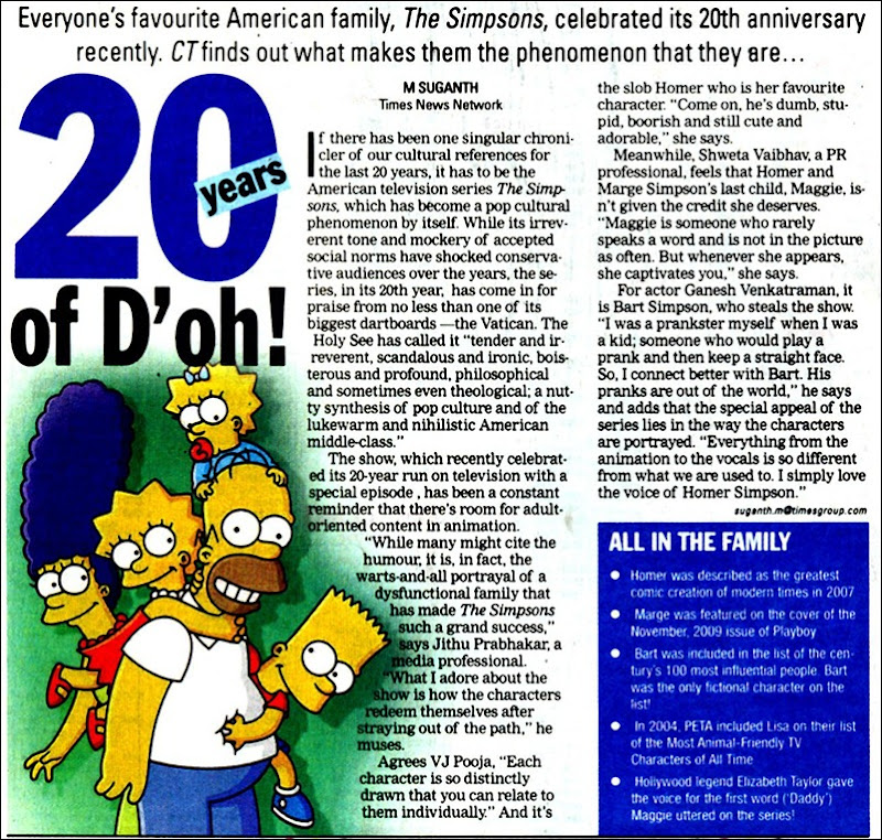 Times of India Chennai Times Page No 1 Dated 14012010 Thursday Simpsons 20 Yrs in TV