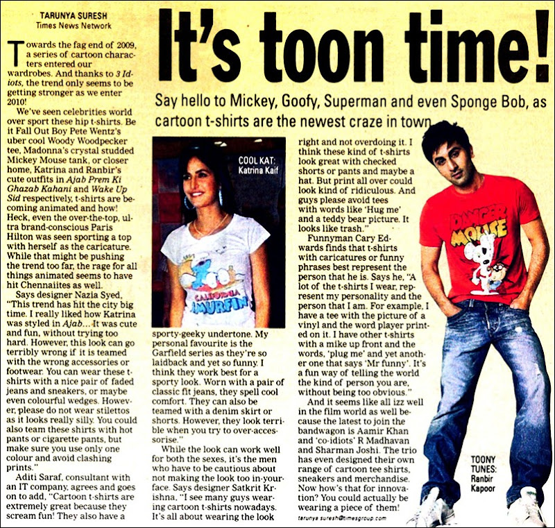 Times of India Chennai Times Page No 1 Dated 01012010 Friday Comics Cartoon T Shirts
