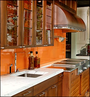 Sherwin Williams Paint Kumquat Orange Jennifer Gilmer backpainted glass