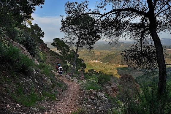 Els Rogerals, camí ral del Lloar a la Figuera, camí de ferradura, al fons, el poble del Lloar, serra de la Figuera, DOQ Priorat,El Lloar, Priorat, Tarragona