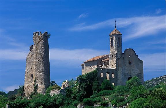 Castell i església de Santa Perpètua de Gaià, vall del Gaià Pontils, Conca de Barberà, Tarragona 2001.05