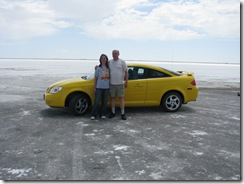 1971 Bill & Karen at End of Road to Bonneville Salt Flats International Speedway UT