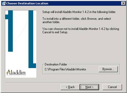 Aladdin HASP Monitor installer: destination installation screen