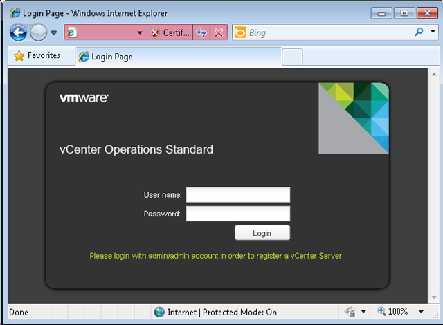 vCenter Operations Manager - login page