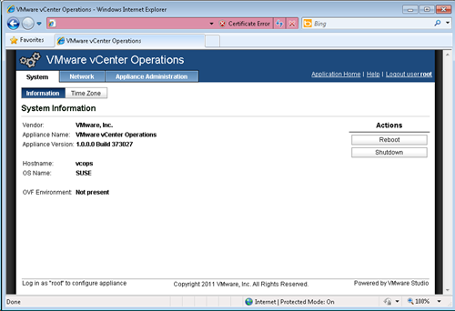 vCenter Operations - system configuration screen
