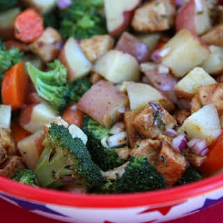 Broccoli and Chicken Salad with Lemon Dressing.