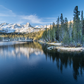 mammoth lakes at dawn by Kathy Dee - Landscapes Mountains & Hills ( clouds, california, beautiful, lakes, mammoth, landscape, capped, redwoods, dawn, sky, nature, blue, snow, sunrise,  )