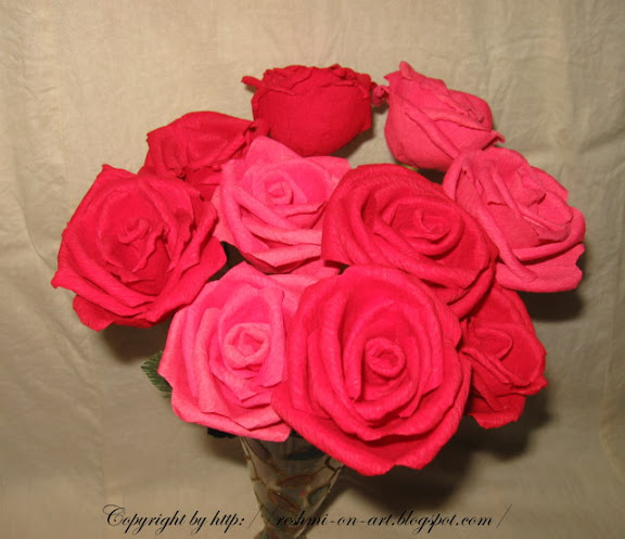 Making duplex paper flowers valentine roses calligraphy art duplex paper roses mightylinksfo Image collections