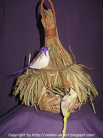 Dried bamboo leaves and hay craft birds nest for Uses waste material art craft