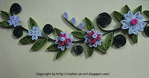 Quilling Craft Floral And Curls Pattern Calligraphy Art