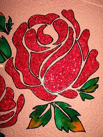 Crystal glass painting beautiful red roses calligraphy for Simple glass painting pictures