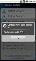 Screenshot of Contacts Backup & Restore