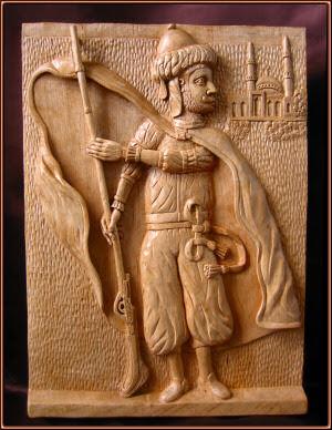 Guerrero árabe. Talla en madera