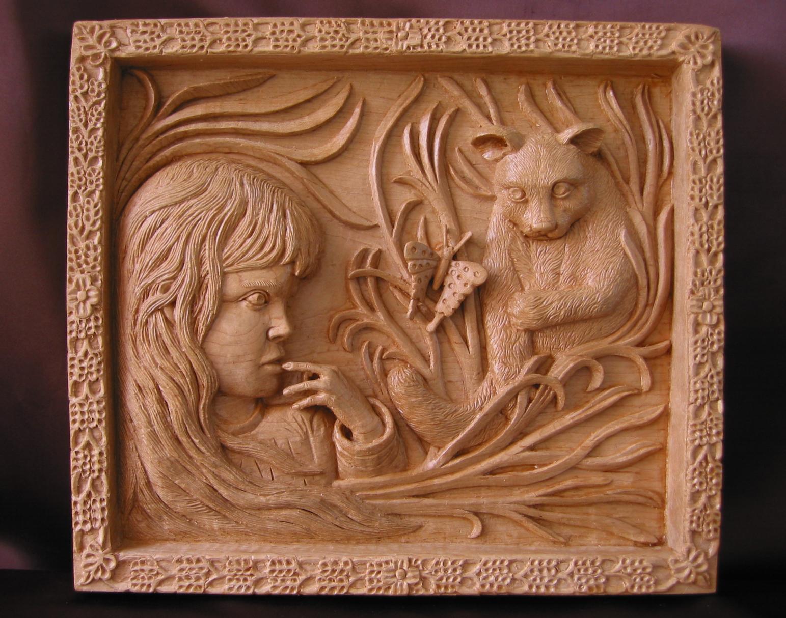 Ni a con gato y mariposa talla en madera wood carving - Fotos en madera ...