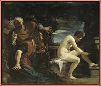 Susana y los viejos, por Guercino. Museo del Prado