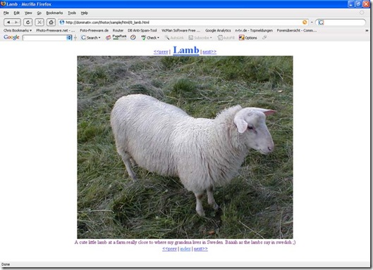 create an html photo album Thotor
