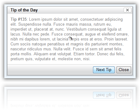 YUI Styled 'Tip of the Day' Dialog