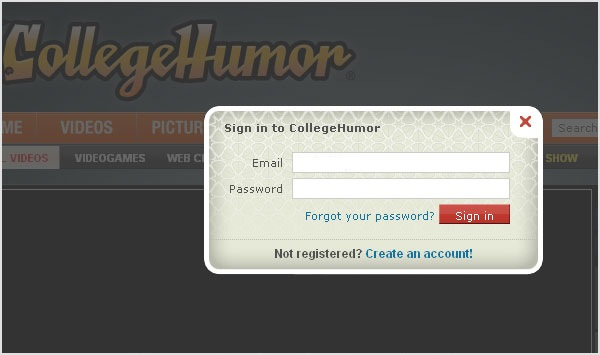 College Humor login page