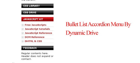 Bullet List Accordion Menu