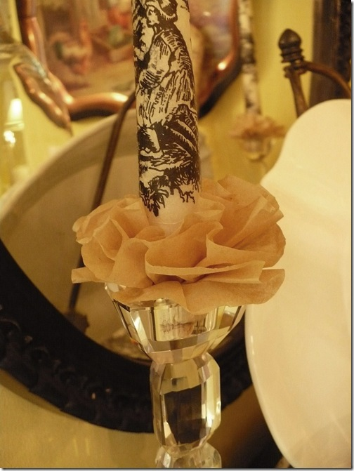 toile candlestick with coffee filter ruffle