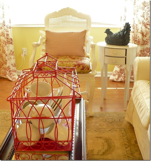 cottage style decorating with red and white