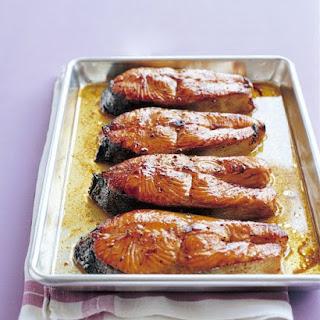 Salmon Steaks With Hoisin Glaze.