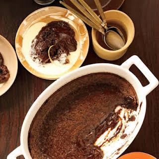 Soft Chocolate Cake with Orange Creme Anglaise.
