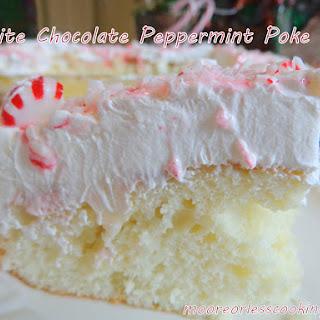 White Chocolate Peppermint Poke Cake