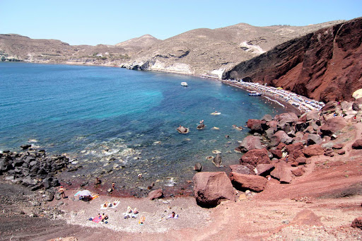 Red beach on the island of Santorini, Greece.