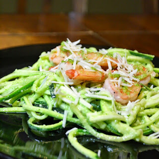 Zucchini Noodles With Shrimp And Almond Pesto.