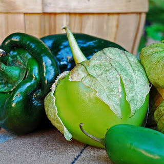 Monster Stuffed Poblano Peppers with Tomatillo Salsa.
