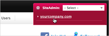 SiteAdmin drop-down