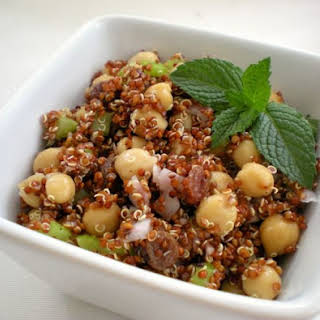 Quinoa Salad with chickpeas, lemon and mint.