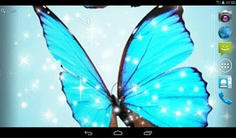 Screenshot of Cyan Butterfly Live Wallpaper