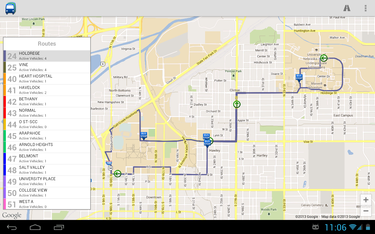 StarTran Bus Tracker- screenshot
