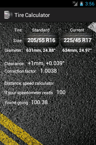Tire calculator- screenshot