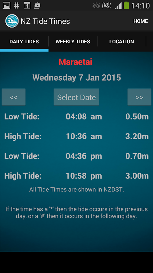 New Zealand Tide Times- screenshot