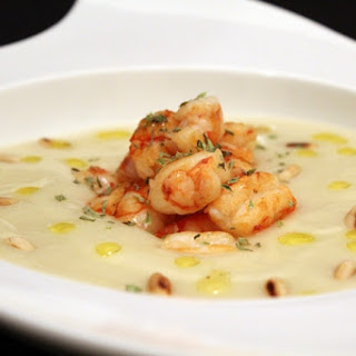 Creamed Cauliflower with Shrimp and Truffle-scented Pine Nuts.