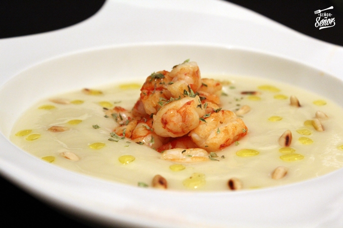 Creamed Cauliflower with Shrimp and Truffle-Scented Pine Nuts Recipe