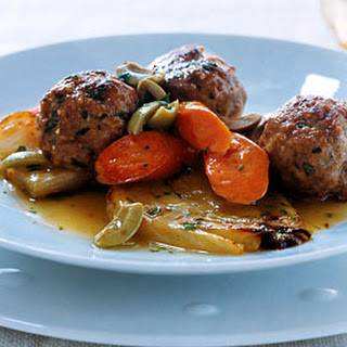 Veal Meatballs with Braised Vegetables.