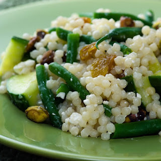 Israeli Couscous with Green Beans, Feta and Pistachios Recipe