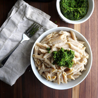Garlicky White Bean Pasta Faux-Fredo with Kale Pesto.
