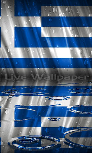 Greece Flag Raindrop