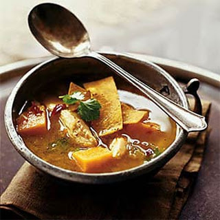 Chicken and Sweet Potato Soup with Chile and Lime.
